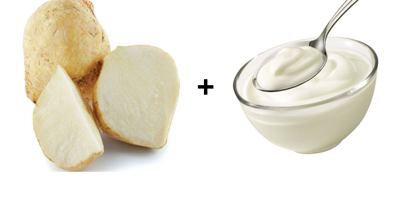 Mặt nạ củ sắn và sữa chua làm trắng da hiệu quả.