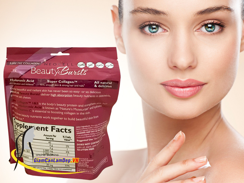 Thạch Collagen Neocell Beauty Bursts 2000mg Hạt Lựu