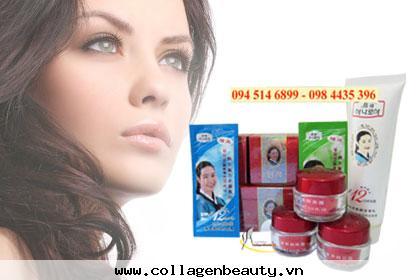 Bộ mỹ phẩm dechangkum thân đỏ nắp đỏ hỗ trợ đặc trị nám tàn nhang trắng da